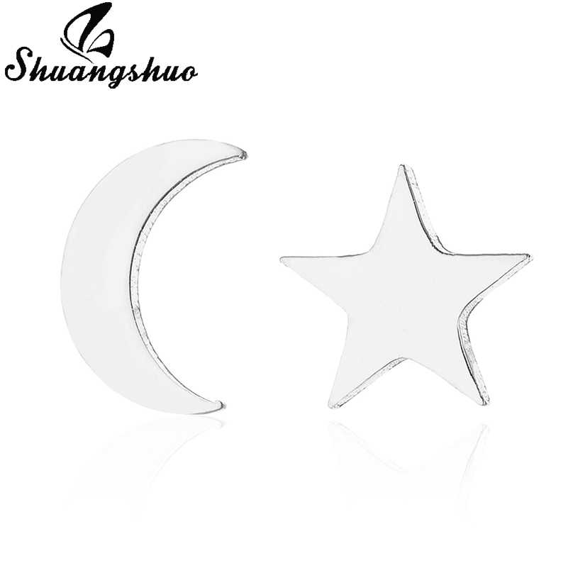 Shuangshuo สแตนเลสสตีลต่างหูสตั๊ดสำหรับผู้หญิงเครื่องประดับ Moon Star Mickey หู Eaarring oorbellen boucle d'oreille femme