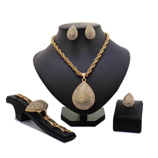 2018 Fashion Dubai Pure Gold Color Jewelry Sets Costume Big Design