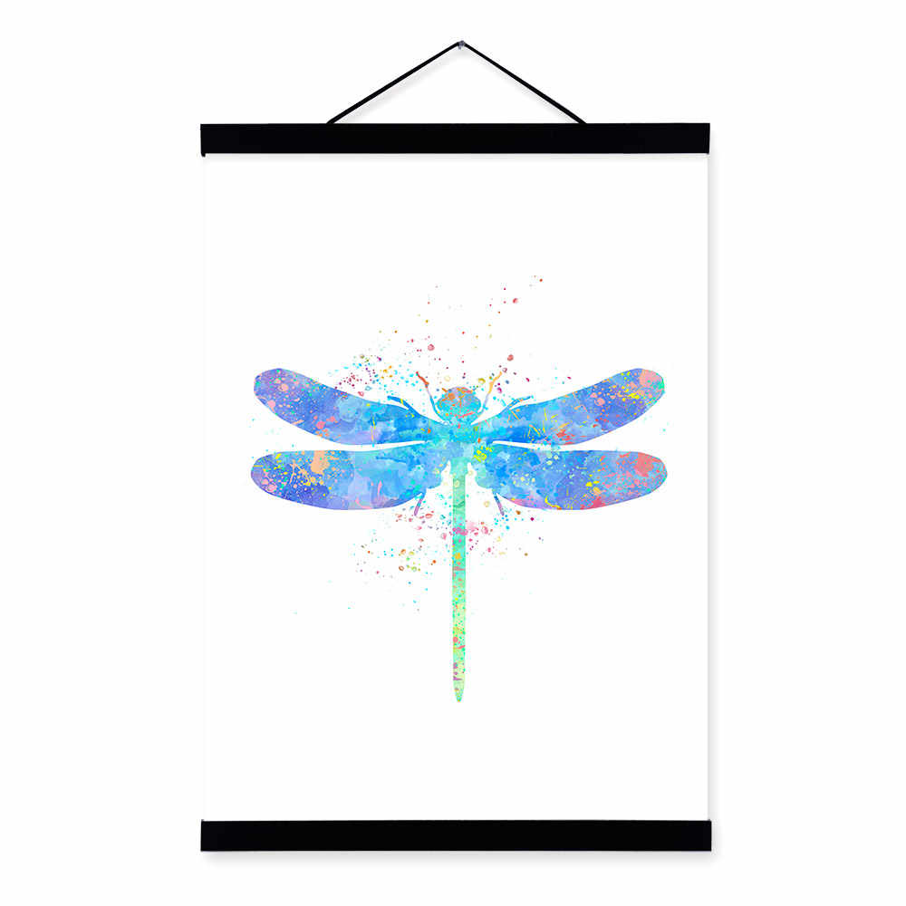 Watercolor Dragonfly Posters Prints Nordic Style Girl Kids Room Home Decor Wall Art Picture Wooden Framed Canvas Painting Scroll