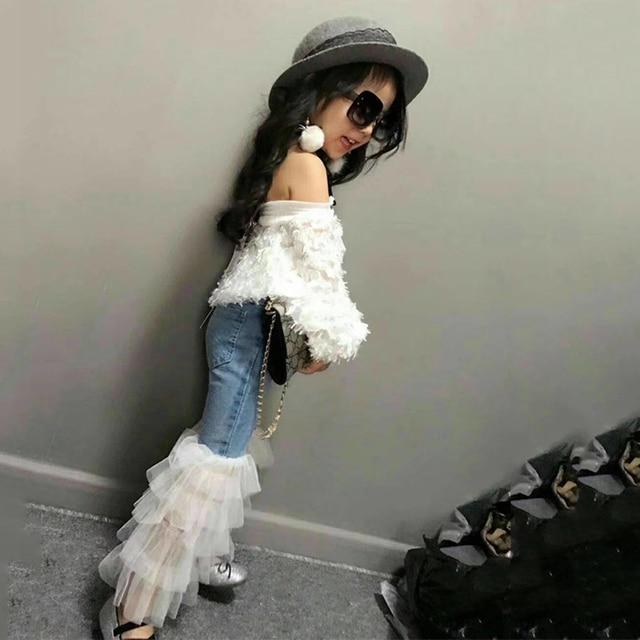 Ilkbahar Yaz kızlar denim pantolon bebek pantolon çocuk kot çocuk pantolonları yürümeye başlayan dipleri moda dantel katmanlı yama 1 ila 7 yıl