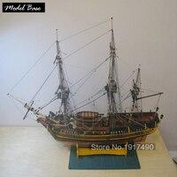 Wooden Ship Models Kits Diy Educational Toy Model Boats Wooden 3d Laser Cut Scale Model 1/64 Bounty Original number (Bethia)