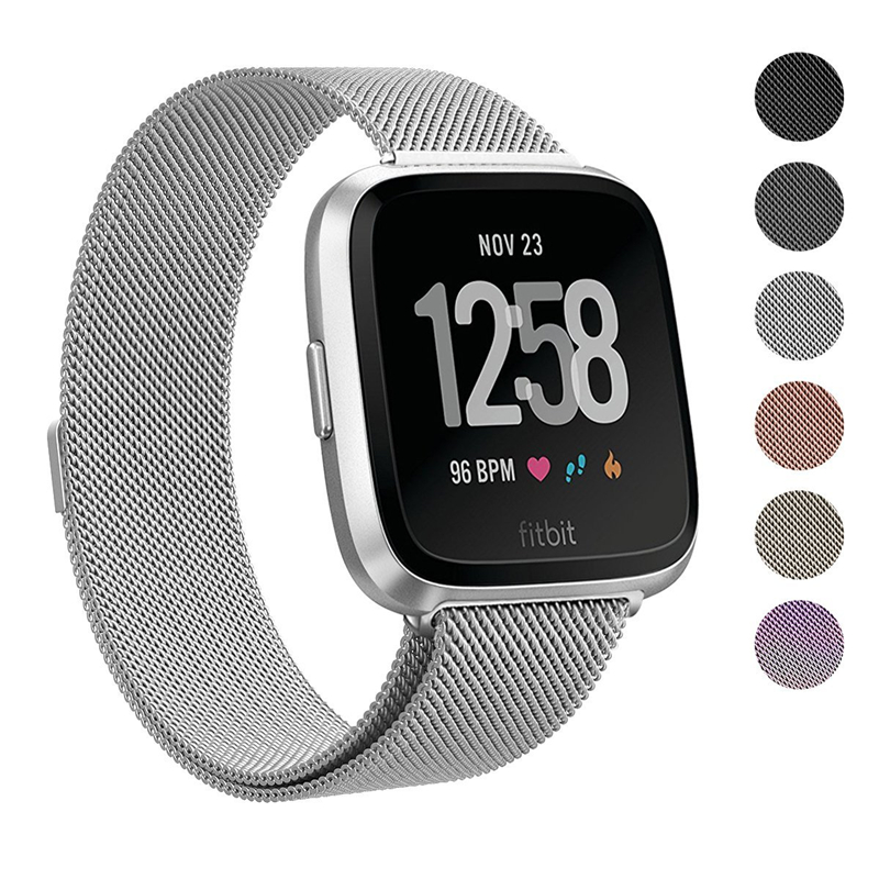 Milanese Magnetic Loop Stainless Steel Band For Fitbit Versa Watch Strap Belt Wristwatches Dropshipping Black Sliver Rose Gold 16 18 20 22 mm silver black gold rose gold ultra thin mesh milanese loop stainless steel bracelet wrist watch band strap belt