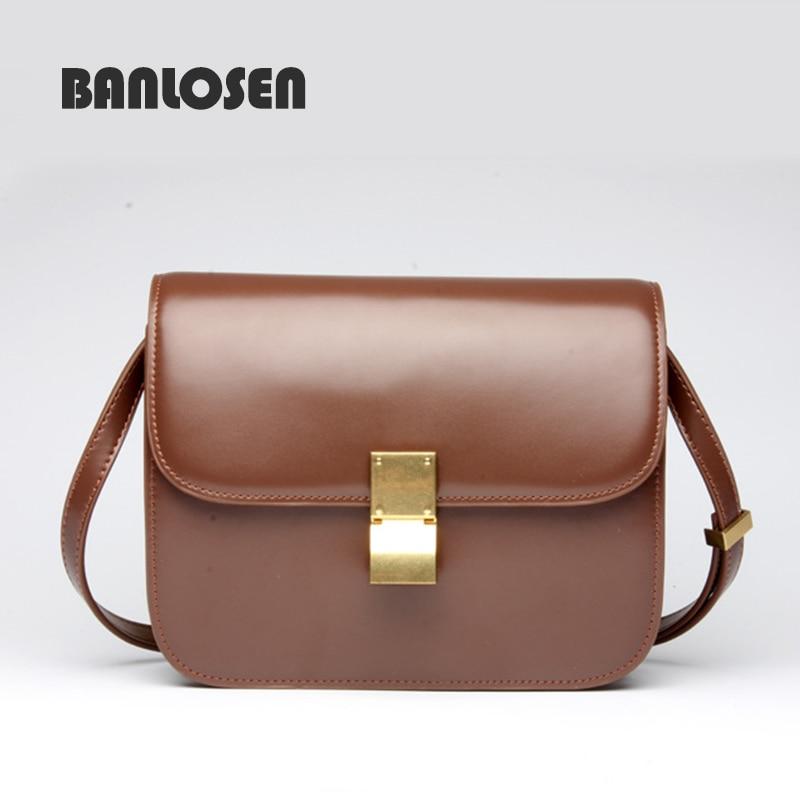 BANLOSEN brand genuine leather small crossbody bags for women saddle girls messenger bag frauen designer shoulder <font><b>handbags</b></font>