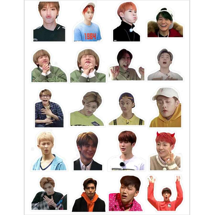 Kpop NCT 127 Taeyong Mark Adhesive Photo Sticker For Luggage Laptop Notebook Mobile Phone DongHyuck Funny Expression DIY Sticker