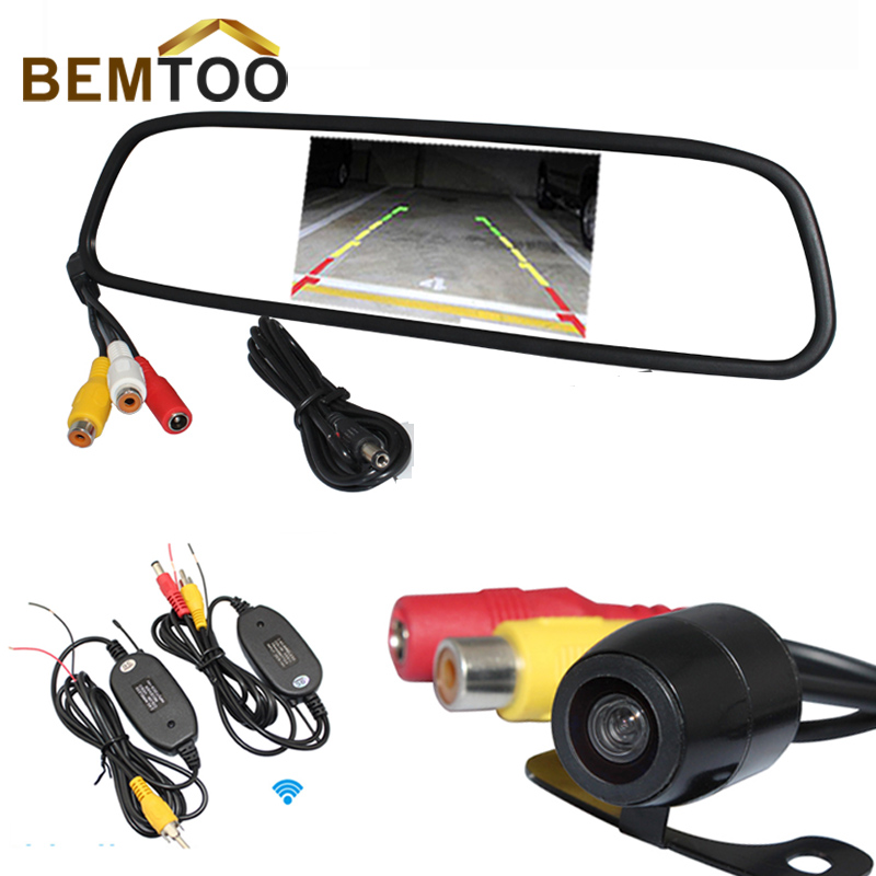BEMTOO Car Rear View System Wireless Night Vision Backup Camera + 4.3 Color TFT LCD Car Rearview Mirror Monitor,Free Shipping