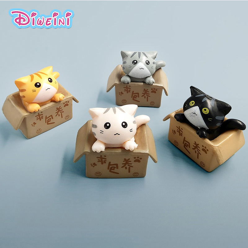 Kawaii Cat Inside Box Cartoon Animal Mini  Model  Toys Figurine  Home Decoration  Miniature Moss Landscape Ornament PVC Craft