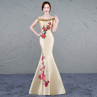 2017 Yellow Cheongsam Sexy Long Qipao Evening Dress Chinese Traditional Women Clothing Oriental Dresses Retro Dressing Gown