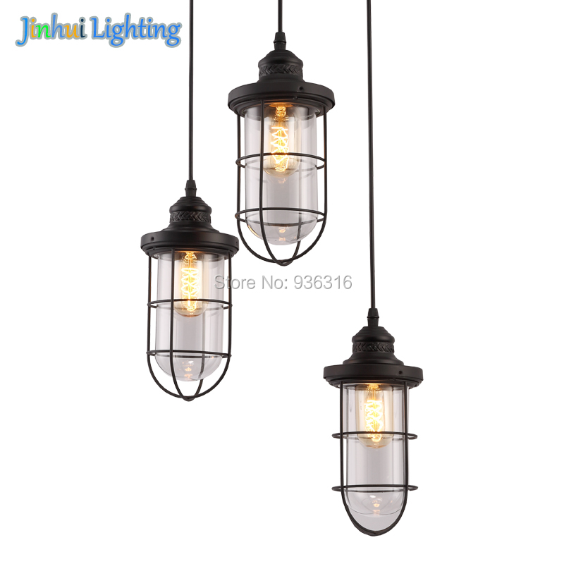 Industrial vintage 3 lights metal glass pendant lamps Fixture matte black Ceiling Lamp for Hallway, Dining Room, Living Room 3 heads pendant lamps dining room glass pendant light living room lights bedroom pendant lamps iron lamp fg552
