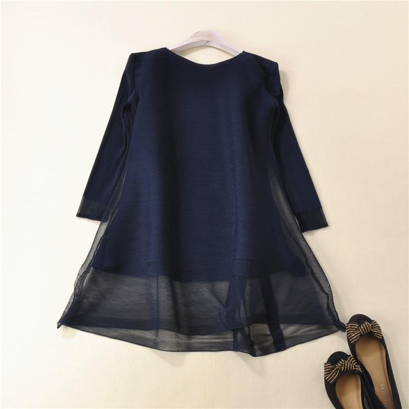 Paillettes T Sept Manches Mode En Gratuite Stock Fils Bleu Livraison shirts Net marine Style bourgogne Noir Fold Lâche pxtzAAnq