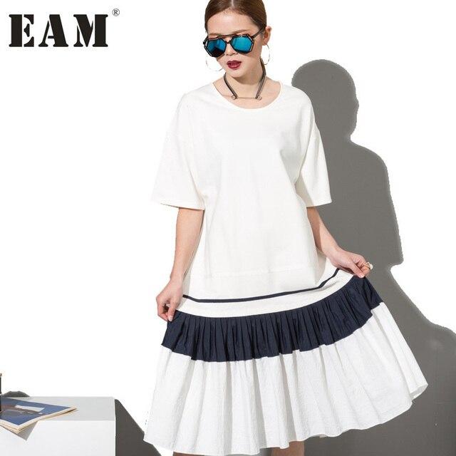 [EAM] Мода 2017 г. новый простой черный, белый цвет шить свободно большие платье женский орган плиссе Подол оптом женские W0070
