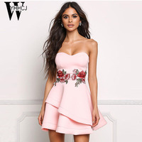 WYHHCJ 2017 Elegant Embroidery Women Summer Dress Sexy Off Shoulder Cascading Party Dresses Mini Black Dress