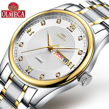 OLMECA Men's WristWatch Luminous Business Chronograph Waterproof Dress Quartz Watches Auto Date relogio masculino auto date