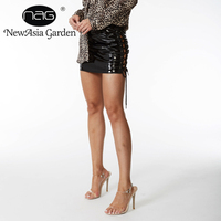 NewAsia Garden Fashion Style Hot Selling Black A Line Club Lace Up Sexy Mini Women's Skirt Free Shipping Drop Shipping