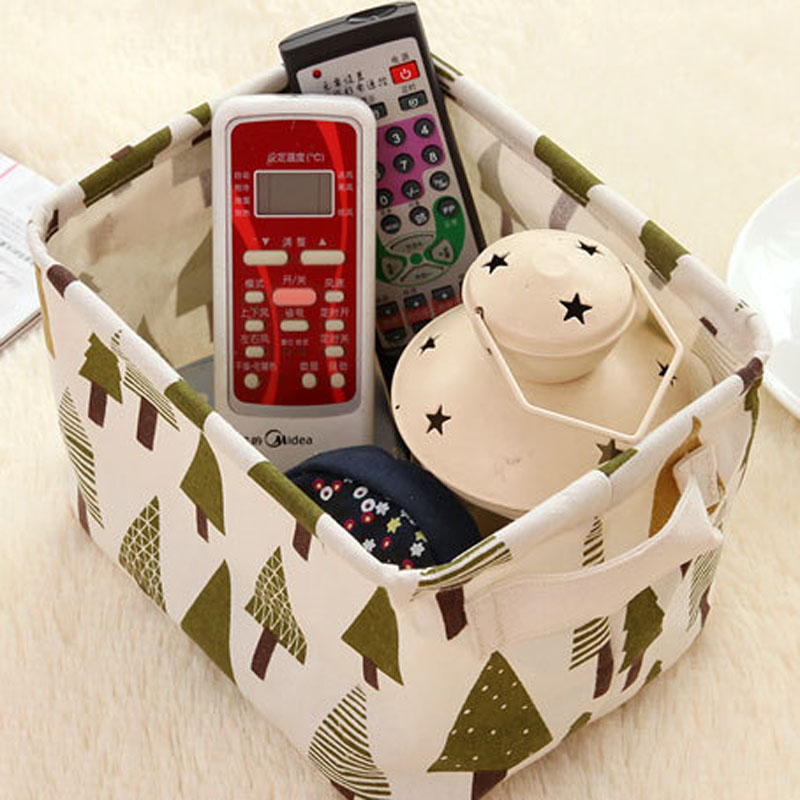 5 Pcs/lot Foldable Cotton Linen Desktop Organizer Basket Organizer with Handle Sundries Makeup For Toys Dirty Cloth Bathroom