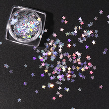 3mm Star Shape Holographic Nail Glitter Laser Silver Flakes Shiny Paillette Polish Decorations 5g