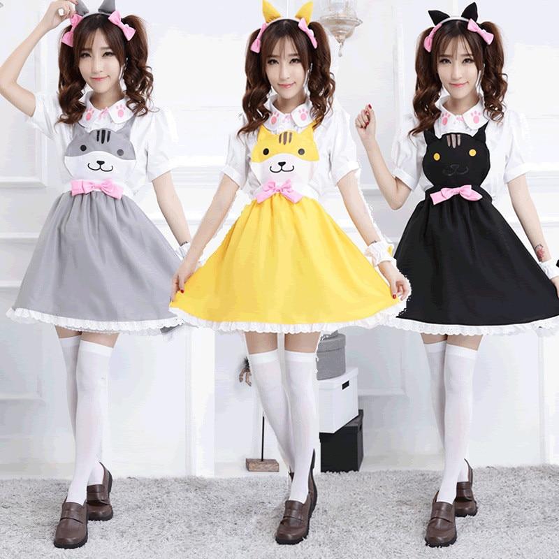 Kawaii Women Japan Anime Claw Print Cosplay Uniform Cat Style Dress Bowknot Cute Lolita Costume Dress+Shirt+Headwear+Wrist Band