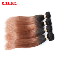 ALLRUN Ombre Human Hair Bundles #T1B 30 100g/Piece Malaysian Straight Hair Extensions 1 PC Non Remy Hair 1B Black to #30 Color