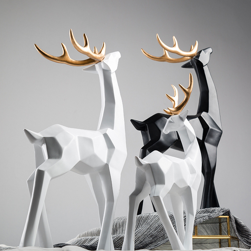 Creative Resin Deer Statue Vintage Figurines Home Decor Geometry Crafts  Industrial decoration for Resin Animal Figurine Gifts Statues & Sculptures   - AliExpress