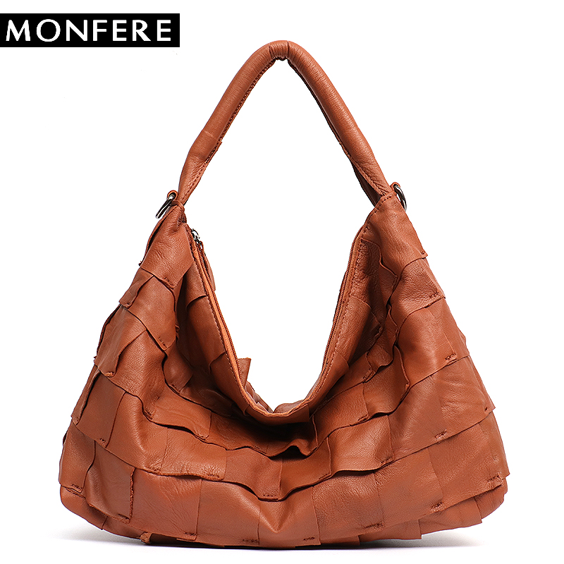 MONFERE 100% Genuine Leather Patchwork Shoulder Bags Soft Leather Sheep Skin Hobo Bag for Female Women Handbag Big Messenger Bag 7fluxury designer handbag mini hobo bags genuine leather women messenger bag patchwork plaid chain shoulder bag crossbody bag