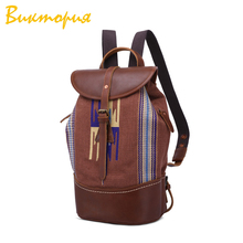 CHARAS brand canvas+Genuine Leather backpack women/men Oily cowhide Travel bag folk-custom vacation Fashion student