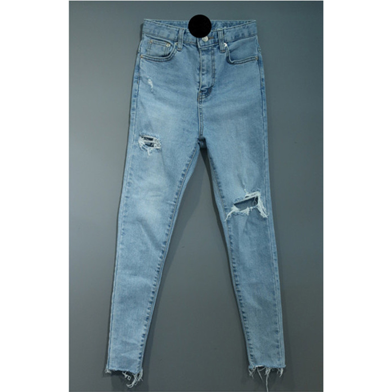 Pantalones Agujeros Mujeres Destruidos Jeans Irregular Lápiz Bgteever Mujer Casual Stretch Streetwear Blue Bolsillos Denim Ripped Jean xzFww6fq