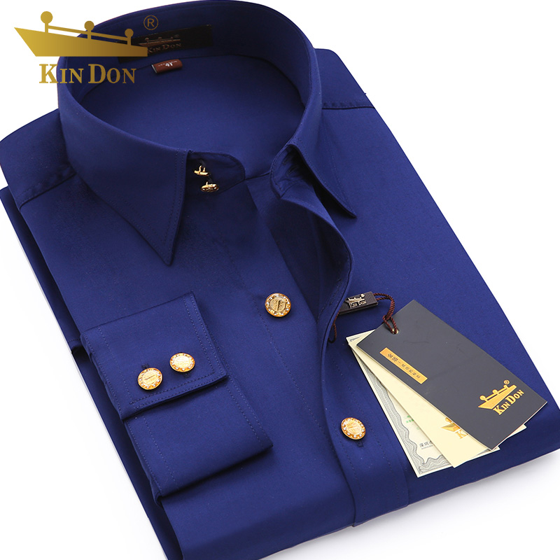 2018 Men's Diamond Button Long-sleeved Shirt Male Business Casual Slim Copper Button Dress Shirt Top Quality Groom Wedding Shirt