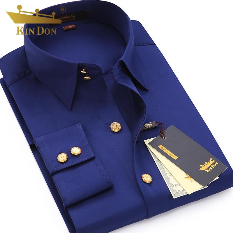 2018 hommes bouton de diamant à manches longues chemise mâle affaires décontracté Slim cuivre bouton robe petit haut de qualité marié chemise de mariage - 2