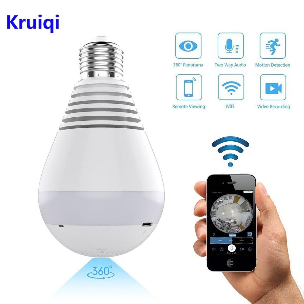 Kruiqi Wifi Câmera IP 1080P Lâmpada de 360 graus Fish-eye Camera CCTV 2.0MP Wi-fi Wi-fi de Segurança Em Casa câmera Panorâmica câmera