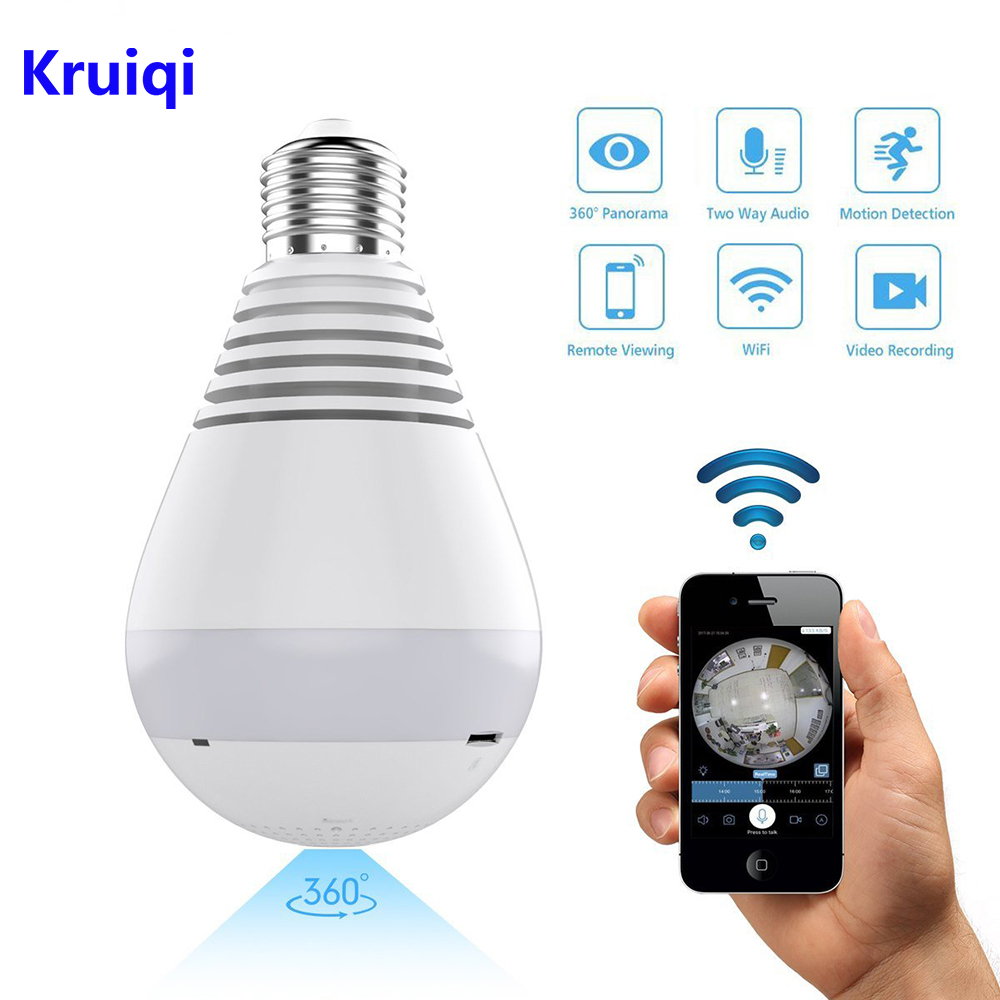 Kruiqi Wifi IP Camera 1080P Bulb Light 360 Degree Wi-fi Fish-eye CCTV Camera 2.0MP Home Security WiFi Camera Panoramic Camera