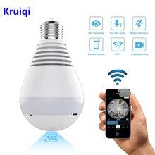 Kruiqi Wifi IP kamera 1080P ampul led ışık 360 derece Wi fi balık gözü güvenlik kamerası 2MP ev güvenlik WiFi kamera panoramik kamera