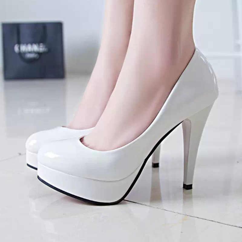 VTOTA/женские туфли-лодочки, модные классические туфли из лакированной кожи на высоком каблуке, туфли для стриптиза на платформе, свадебные женские модельные туфли, большой размер 42