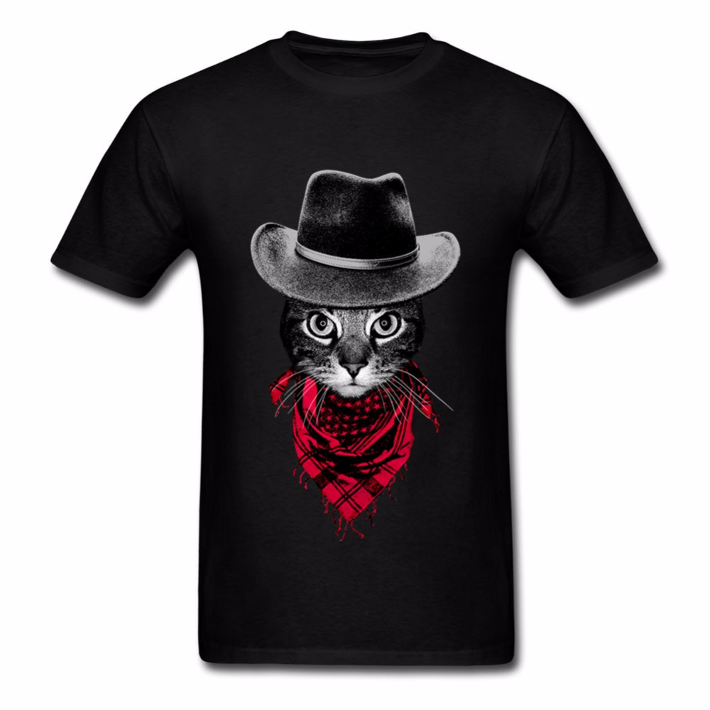 New Cowboy Cat Fathers Day Gift Best Dad Ever Printed Mens T-Shirt T Shirt for Men Short Sleeve O Neck Cotton Casual Top Tee