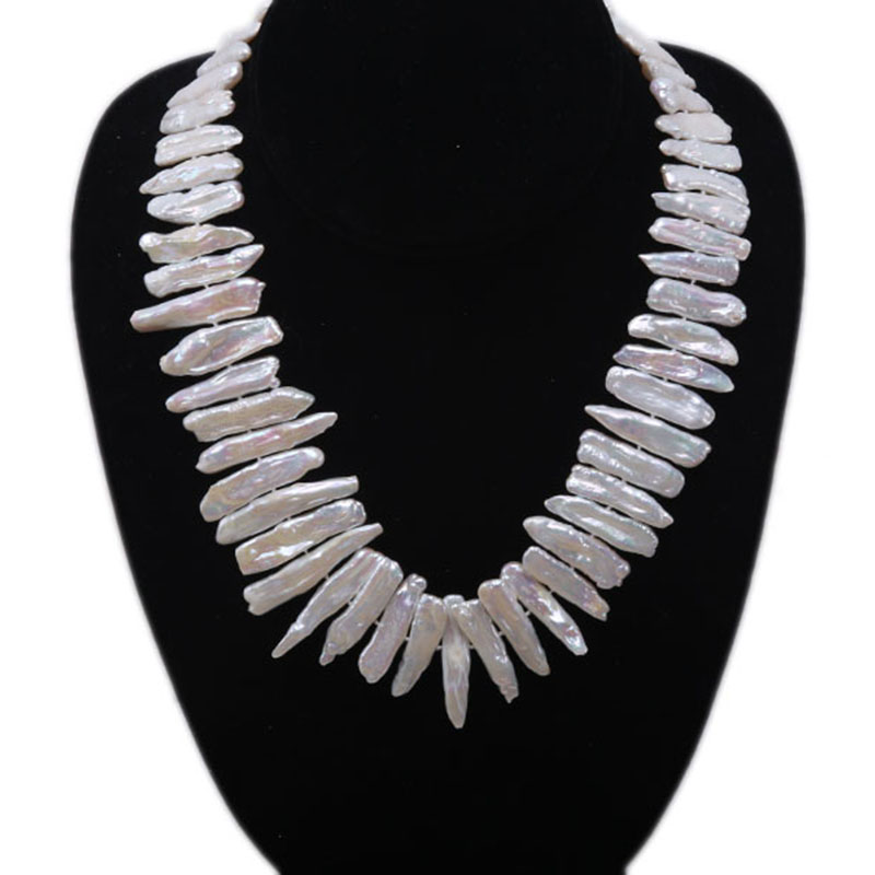 JYX Classic White Baroque Freshwater Cultured Biwa Pearl Necklace Party Jewery Gift AAA 19