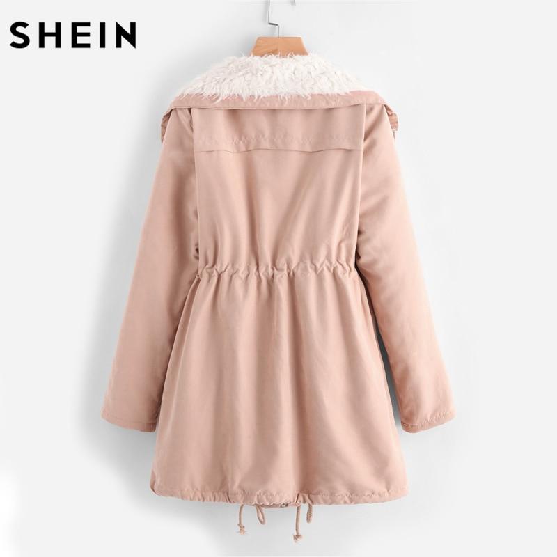 Aliexpress.com : Buy SHEIN Fleece Lined Pocket Front Drawstring ...