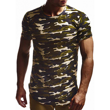 MarKyi fashion tshirt men army camouflage camo 2019 summer fitness hiphop streetwear t shirt