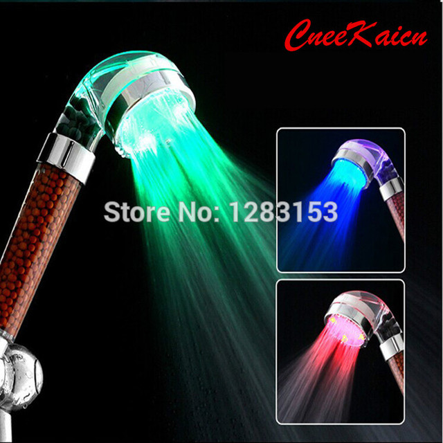 LED Color Shower Head Water Saving Heads Temperature Control Romantic Led Light  Shower Head