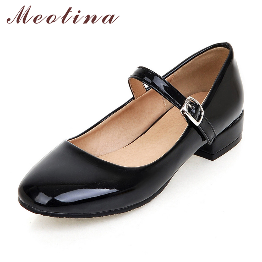 Meotina Flat Shoes Women Mary Jane Ladies Shoes Flats Fall Buckle School Shoes Ballerina Flats Footwear Black Big Size 9 10 43 meotina women flat shoes ankle strap flats pointed toe ballet shoes two piece ladies flats beading causal shoes beige size 34 43