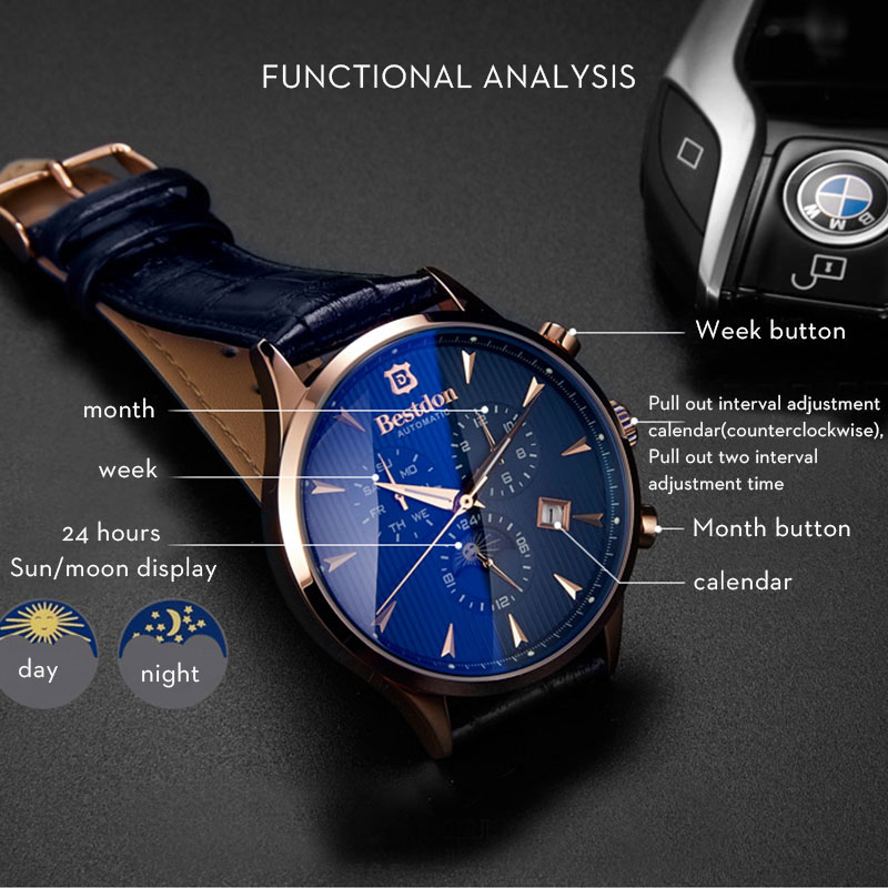Image 5 - Bestdon Luxury Brand Watch Men Automatic Mechanical Watch Business Casual Switzerland Watches Moon Phase Blue Leather Strap 7116-in Mechanical Watches from Watches