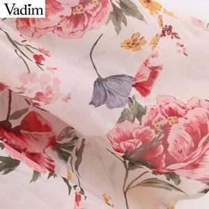Image 4 - Vadim נשים מתוקה שיפון פרחוני הדפסת טלאים midi שמלה ארוך שרוול להנמיך צווארון נשי מזדמן אופנה vestidos QB848