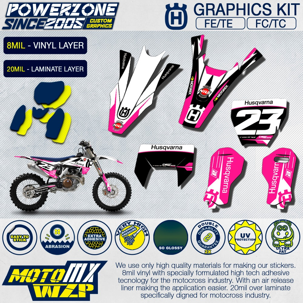 Customized team graphics backgrounds decals 3m custom stickers pink kit for husqvarna 2014 17 18 fe te fc tc 250 350 450 500cc in decals stickers from