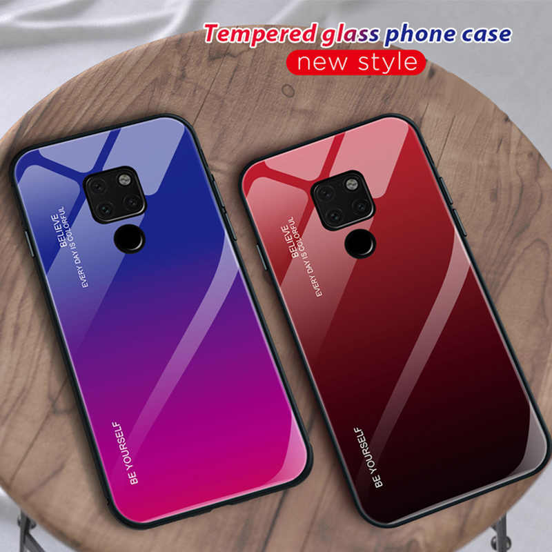 Stained Colorful Tempered Glass for Huawei Mate 20 Pro 10 Lite Full Gradient Phone Case for Huawei Y9 2019 Y6 Prime 2018 Y5 Y7