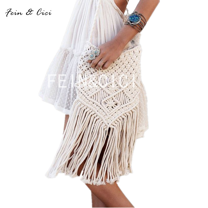 цены на Bohemian Weave Bag beach Straw bags women Handmade Tassel Crochet Knitting messenger Bags Casual boho Shoulder Bag summer 2017 в интернет-магазинах