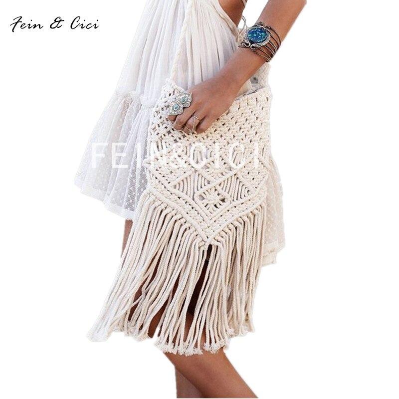 Boho Weave Bag beach Straw bags women Handmade Tassel Crochet Knitting messenger Bags Casual boho Shoulder Bag summer 2017