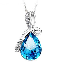 Fashion Necklaces Pendants For Women 2017 Luxury Blue Crystal Wedding Pendant Necklace 925 Sterling Silver Pendant Jewelry
