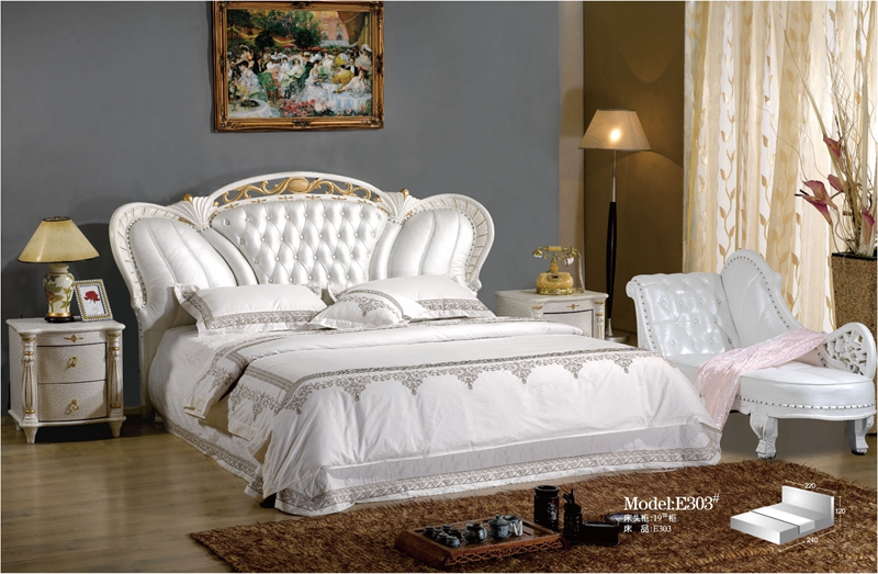 diamond tufted French contemporary modern leather sleeping bed King size bedroom furniture Made in China diamond tufted french contemporary modern leather sleeping bed king size bedroom furniture made in china