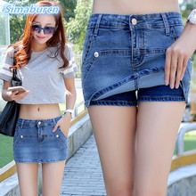 2017 Summer Sexy Women Middle Waisted Mini Fake Two Pieces of Denim Shorts Slim Fit Denim Jeans Solid Color Lady Jean Hot Shorts