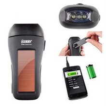 цена на 3 LED powerful solar / hand-cranked dynamo flashlight  black outdoor camping lighting  plastic + electronic components