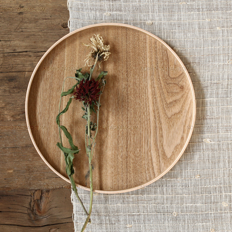 Nordic Ikea Zen Oriental Nordic Minimalist Ena Wood Round Wood Tray Pallet Dessert Plate Plate With Cup Holder Tray Productsplate Connector Aliexpress