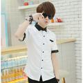 T Aliexpress 2016 summer new Korean version men fashion casual pure color slim short sleeve shirt china Cheap wholesale