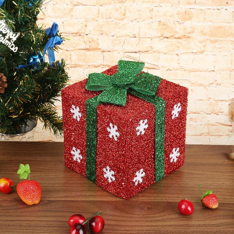 Christmas Gift Box Glitter Sequins Snowflake Christmas Gift Packing Box Tree Showcase Ornament Christmas Decoration Supply